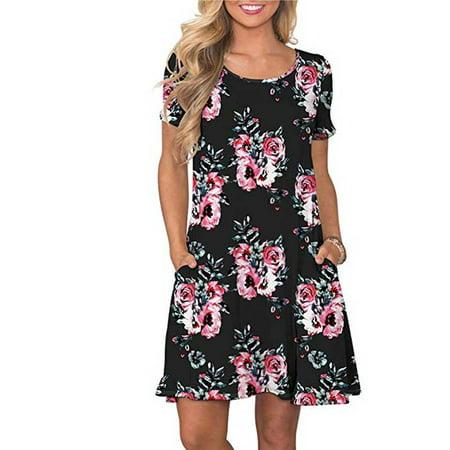 Fysho Women Summer New Round Neck Short-sleeved Dress Floral Pattern Print Pocket Decoration Dress](Belle Dress For Sale)