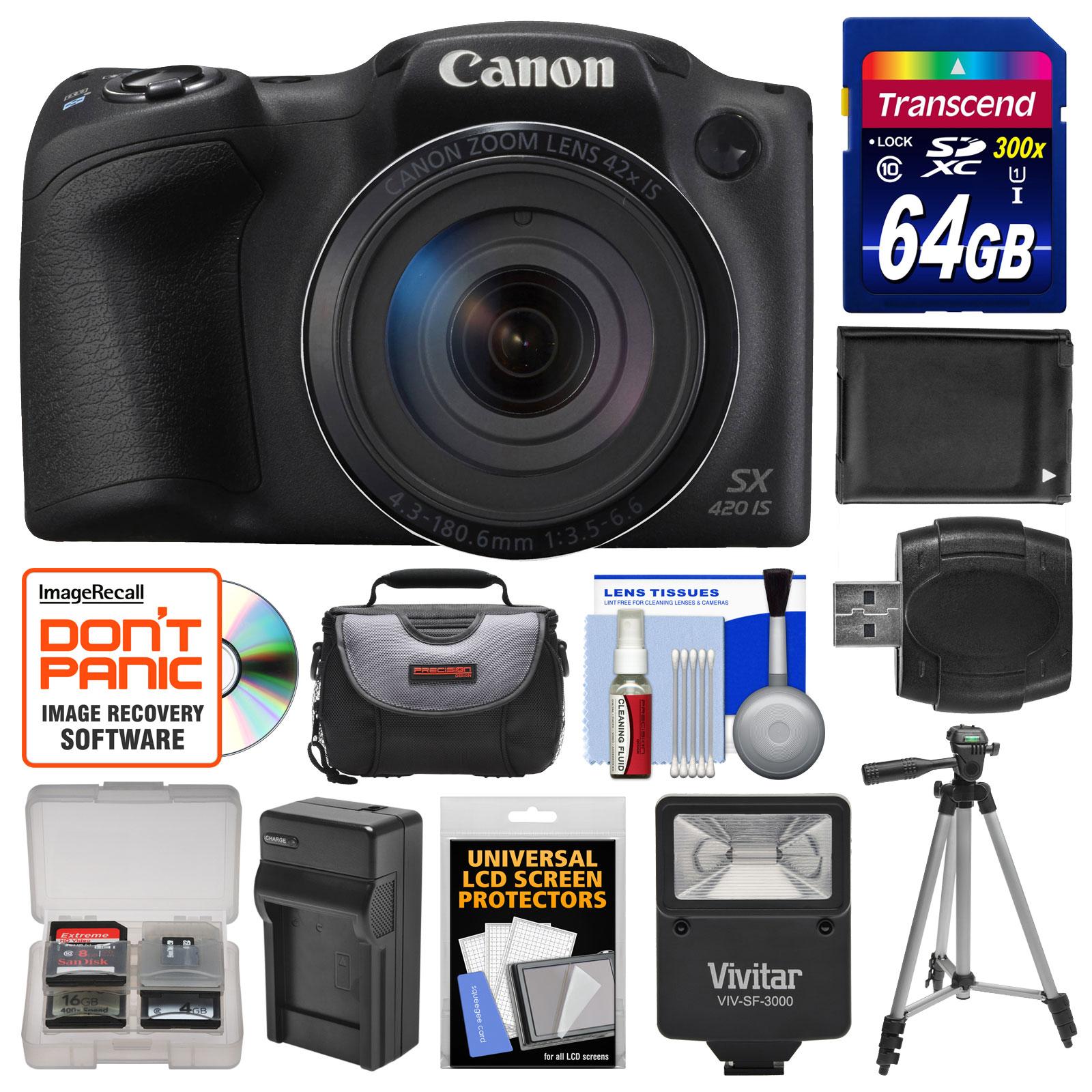 Canon PowerShot SX420 IS Wi-Fi Digital Camera (Black) wit...