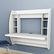 floating office desk. zimtown wall mounted computer desk floating office home pc table with storage shelf white