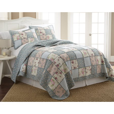 Chezmoi Collection 3-Piece Garden Floral Vintage Washed 100%-Cotton Reversible Patchwork Quilt Set, King