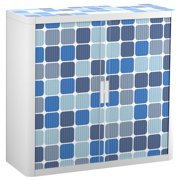 """Paperflow easyOffice Storage Cabinet, 41"""" Tall with Two Shelves, Blue Squares"""