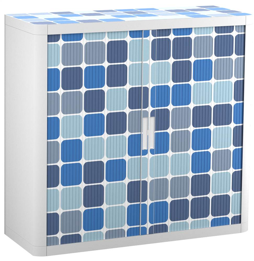 "Paperflow easyOffice Storage Cabinet, 41"" Tall with Two Shelves, Blue Squares"
