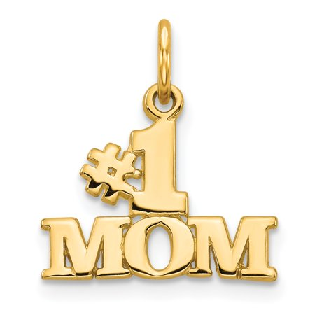 14k Yellow Gold #1 Mom Pendant Charm Necklace Gifts For Women For Her