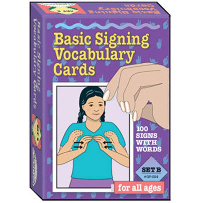 GARLIC PRESS GP-024 BASIC SIGNING VOCAB.  CARDS SET B-100/PK 4 X 6