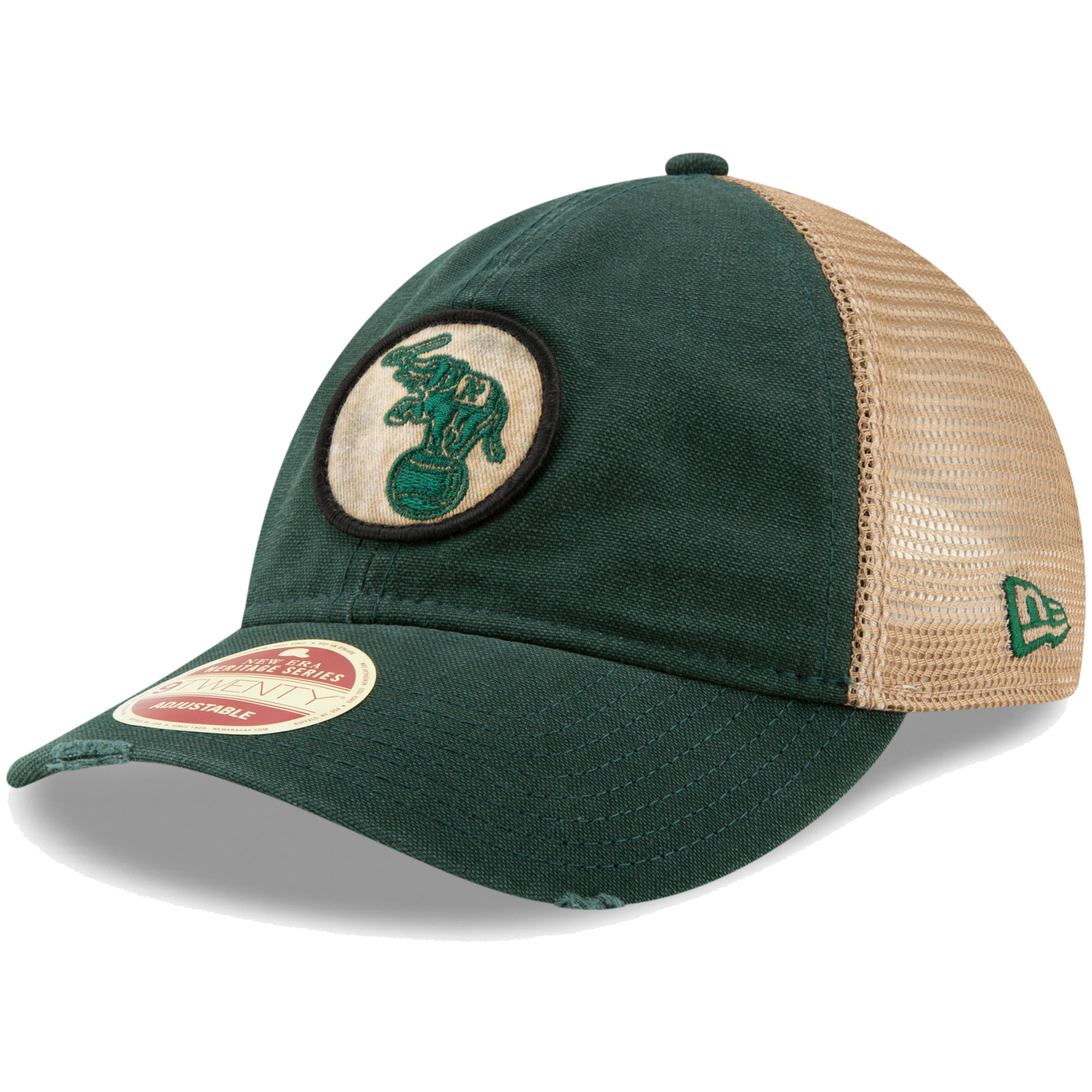 Oakland Athletics New Era Cooperstown Collection Front Patched Trucker 9TWENTY Adjustable Hat - Green - OSFA