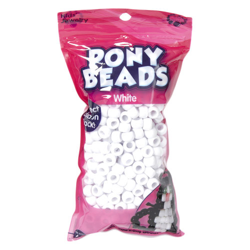 Kids Craft White Plastic Pony Beads, 1 Each