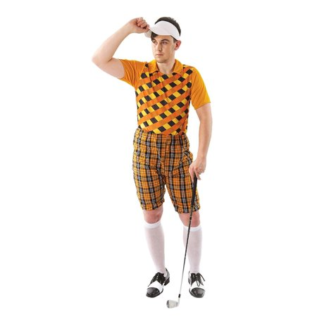 Male Golfer Costume - Orange & Black - (Men's Golfer Costume)