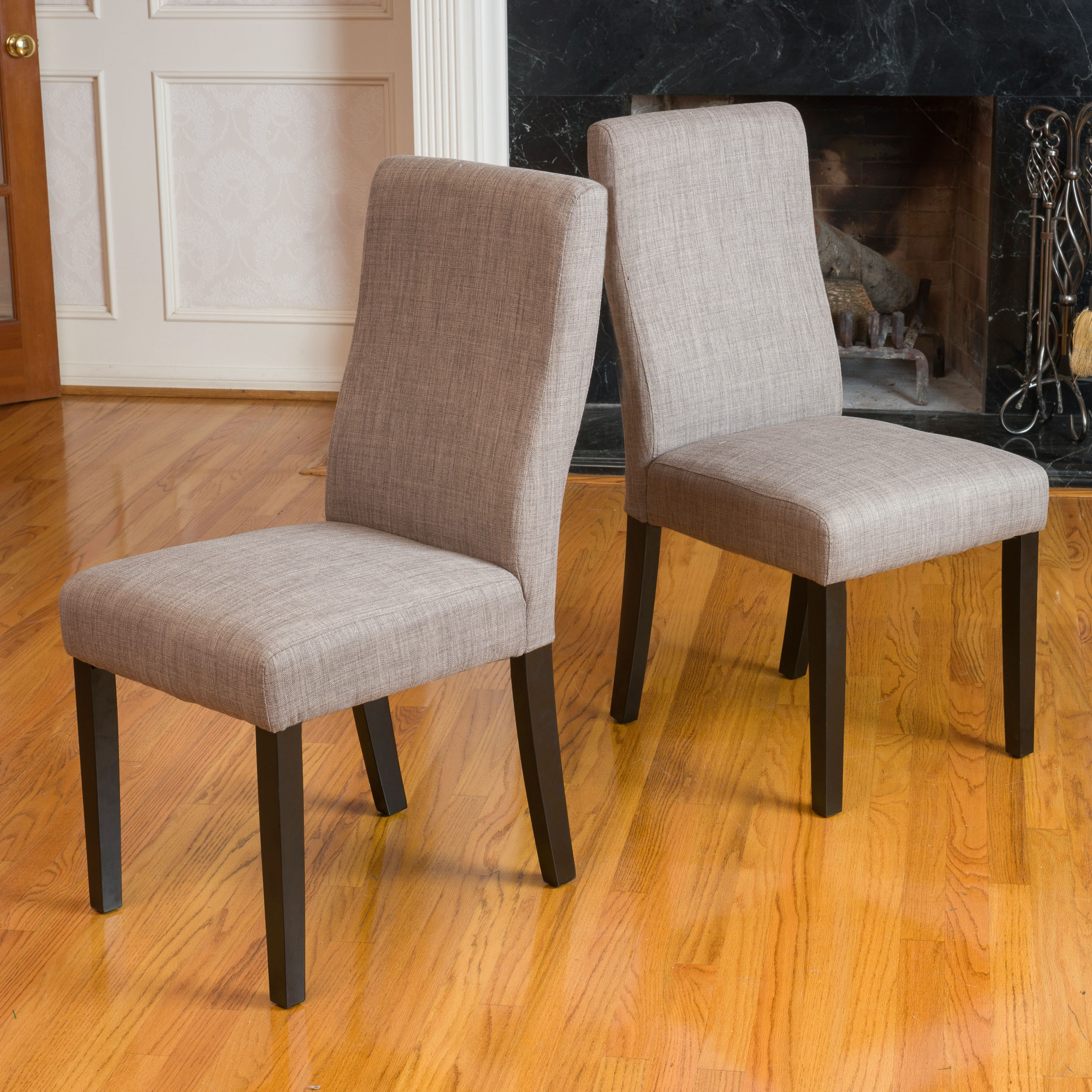 Noble House Ivette Taupe Fabric Dining Chair Set Of 2 Walmartcom