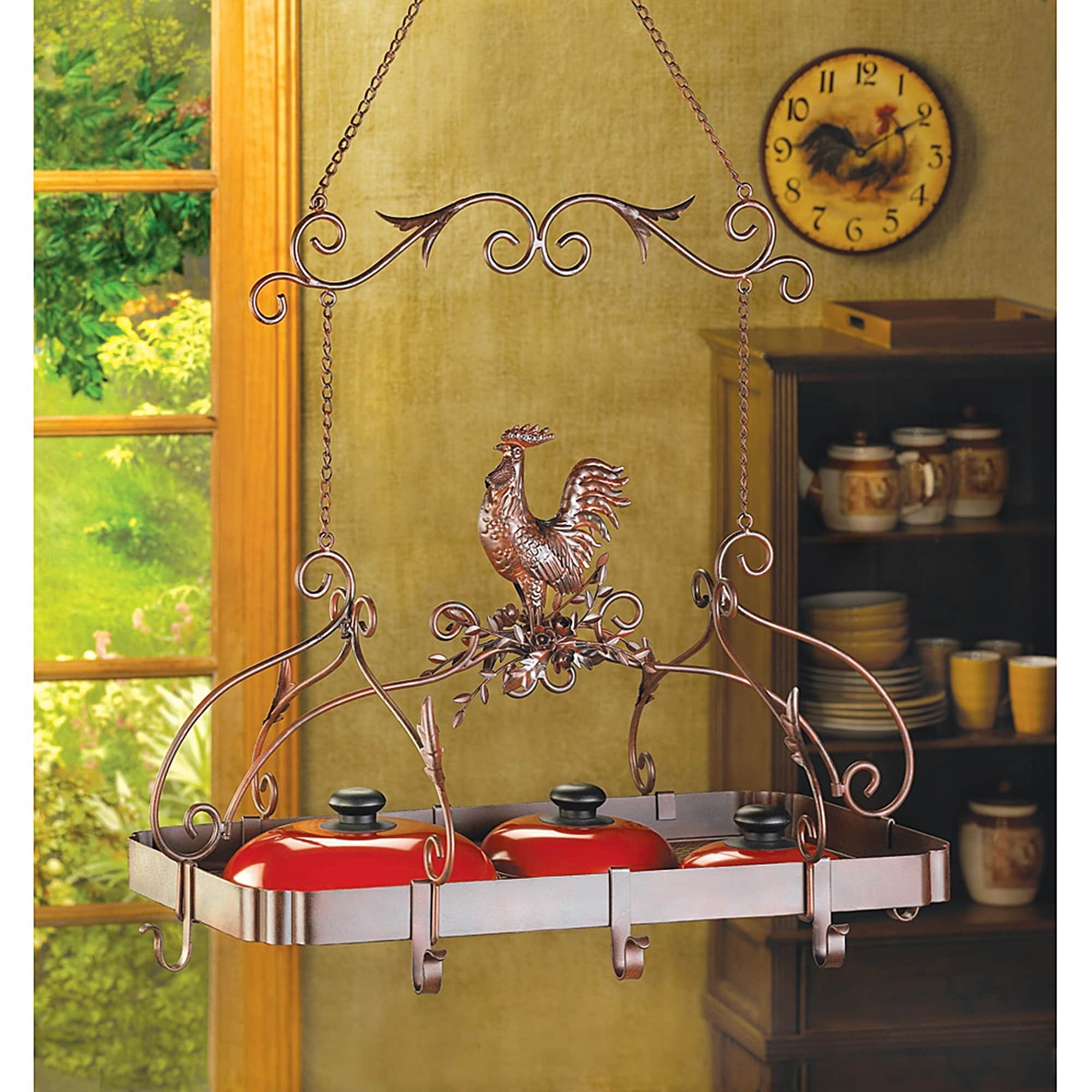 BSD National Supplies Rooster Overhead Hanging Pot Rack
