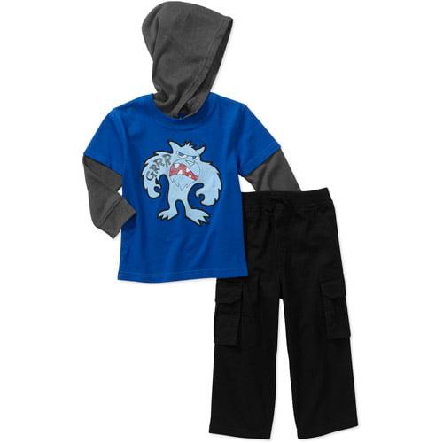 Garanimals Baby Boys' 2 Piece Hooded Hangdown and Cargo Pant Set