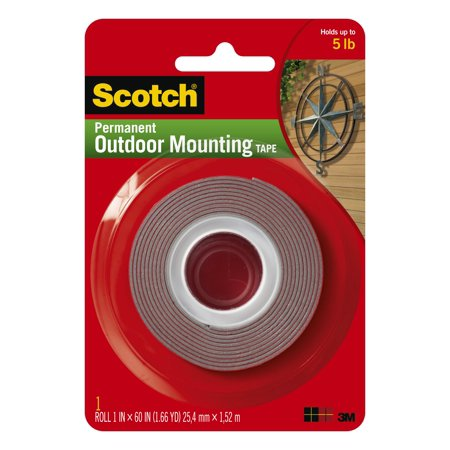 Scotch Outdoor Mounting Tape, 1 in. x 60 in, Gray, 1 Roll/Pack
