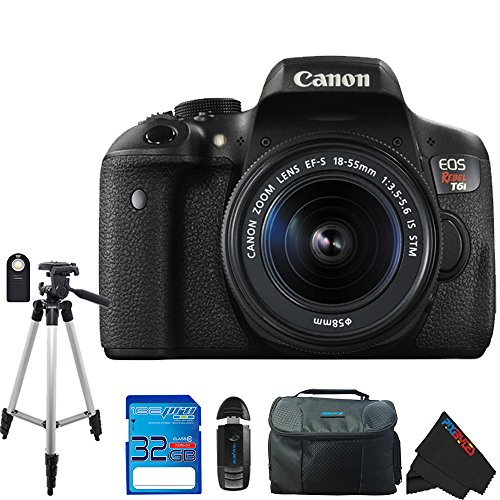 Canon EOS Rebel T6i DSLR Camera with Canon EF-S 18-55mm f/3.5-5.6 IS STM Lens + Pixi-Essentials Accessory Bundle