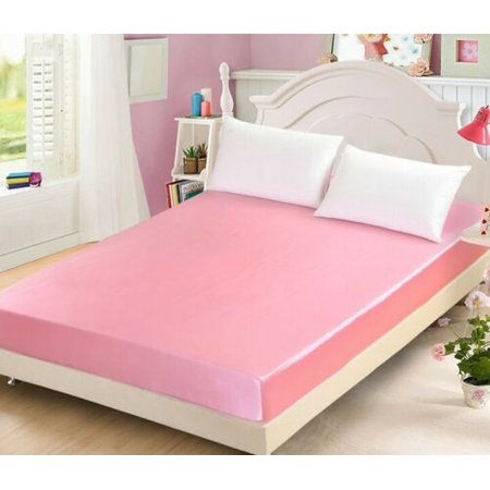 COMFORTABLE LUXURIOUS 1PC PINK SATIN FITTED SHEET SUPER SOFT SILK SMOOTH BEDDING SIZE KING : 1 Fitted Sheet (78