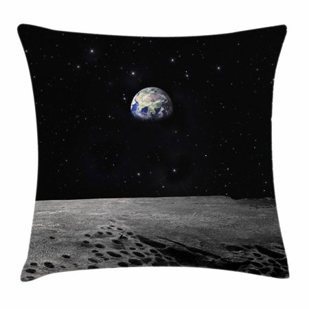 Earth Throw Pillow Cushion Cover  Planet Earth As Seen From The Moon Outer Space Milky Way Quiet Night Sky Galaxy  Decorative Square Accent Pillow Case  20 X 20 Inches  Black Grey Blue  By Ambesonne
