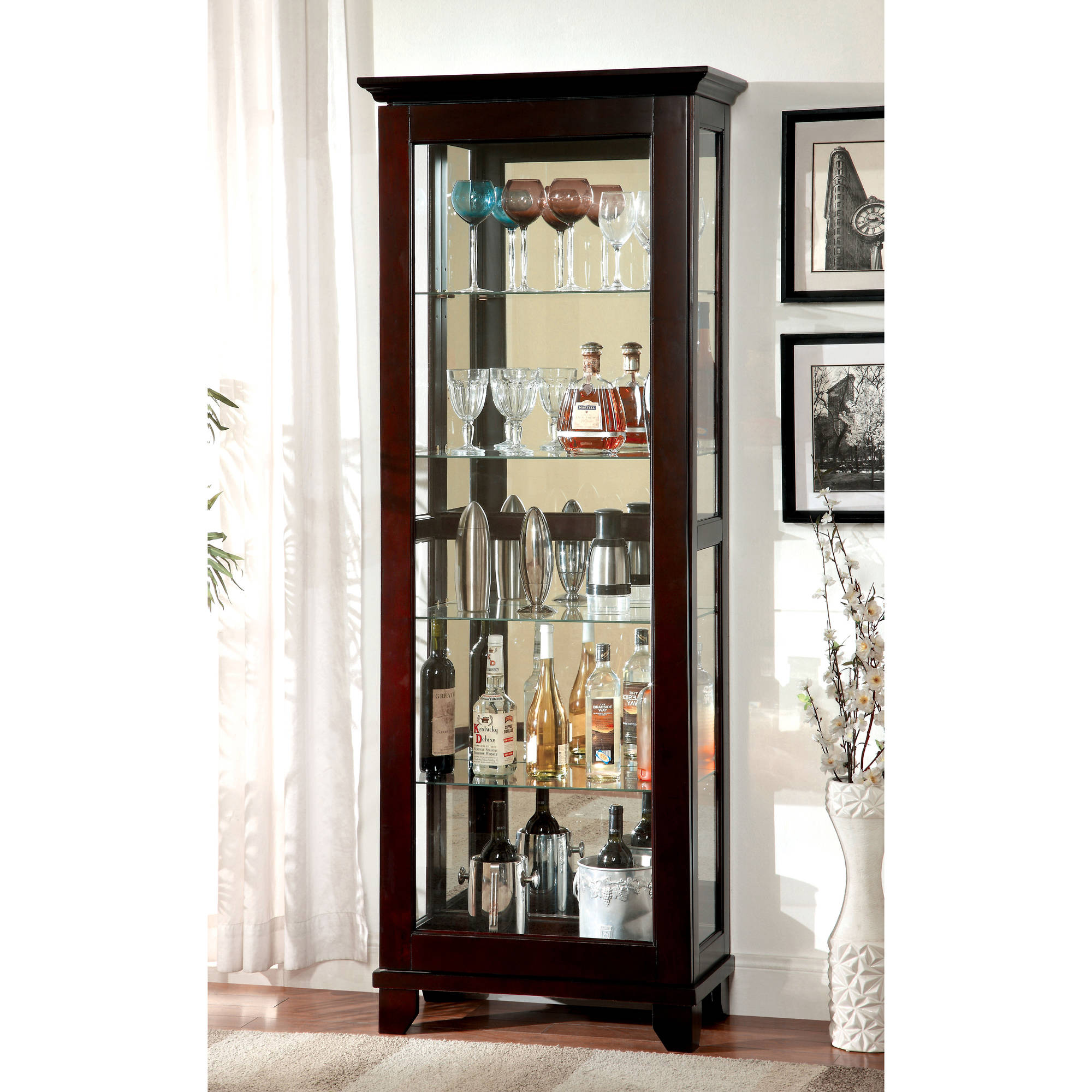 Furniture of America Gideon Contemporary Curio Cabinet, Dark Walnut by Furniture of America