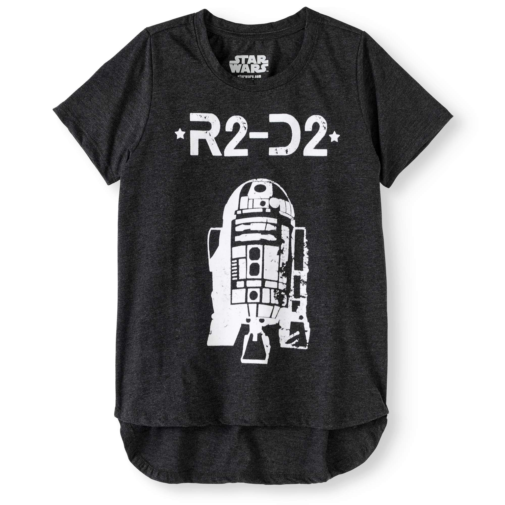 Girls' Shabby Chic R2-D2 Short Sleeve Graphic High Low T-Shirt With White Flocking