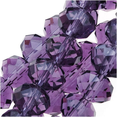 - Amethyst Purple Glass Faceted Rondelle Beads 6x8mm (16.5 Inch Strand)