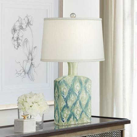 Possini Euro Design Modern Table Lamp Ceramic Green Blue Diamond Pattern Off White Drum Shade for Living Room Family Bedroom
