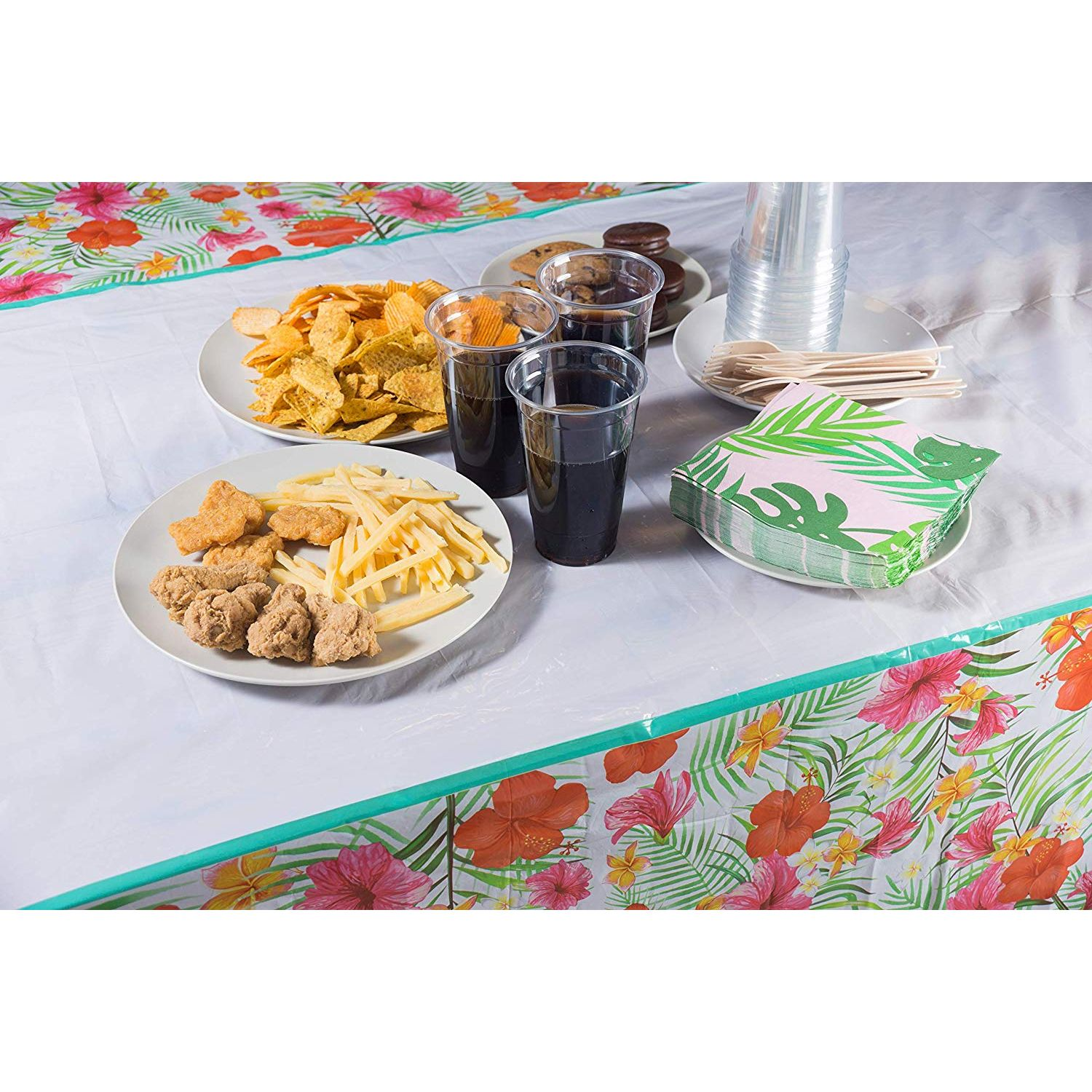 Aloha Tropical Palm Leaves Table Cloth Summer Beach Kids Birthday Cocktail Party Supplies Hawaiian Luau Tablecloths for Party Decoration 2 Pack Hawaii Disposable Plastic Rectangular Table Covers