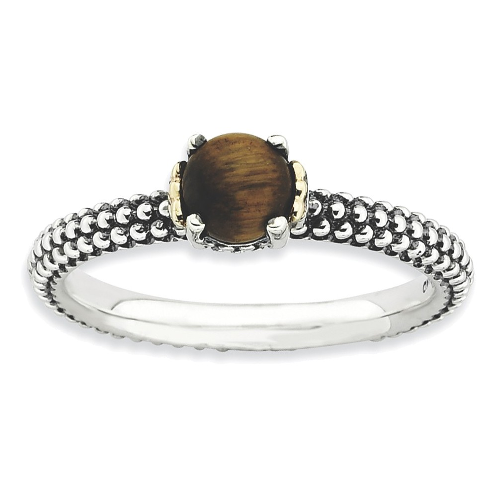 Sterling Silver & 14k Stackable Expressions Tiger's Eye Antiqued Ring Size 8