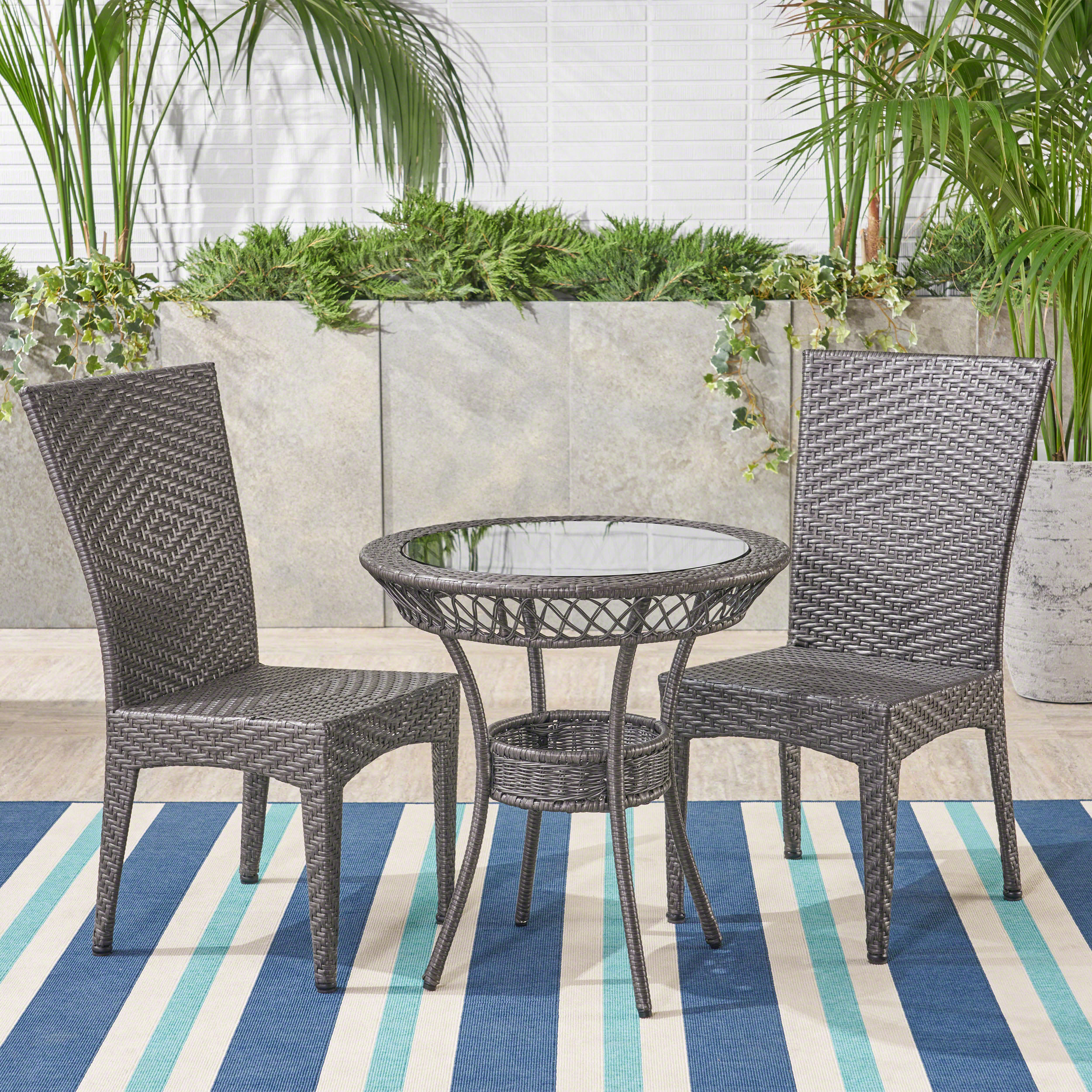 Outdoor 3 Piece Wicker Bistro Set, Grey