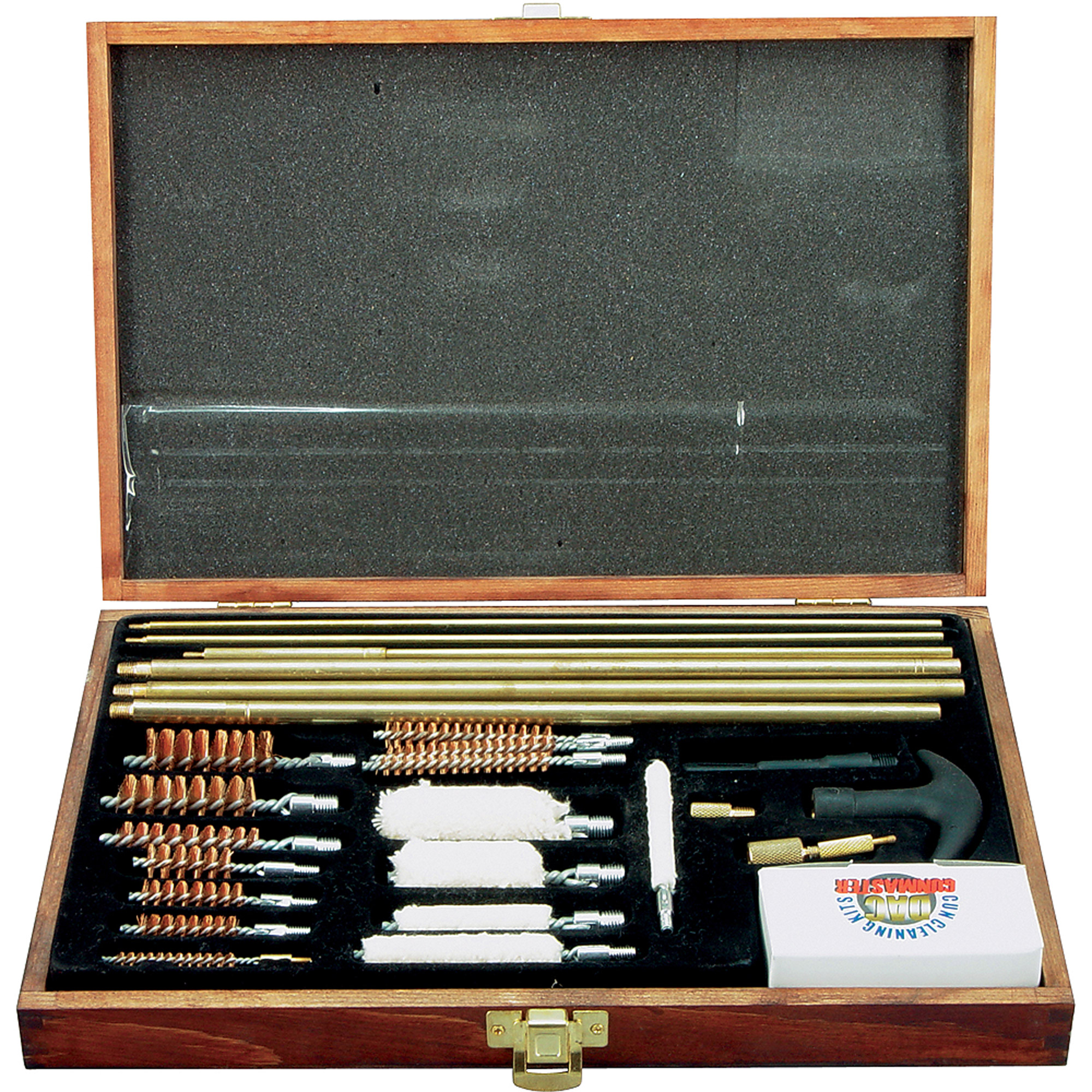 DAC Cleaning Kit for Universal Gun Cleaning, Wood Box, 35 Pieces