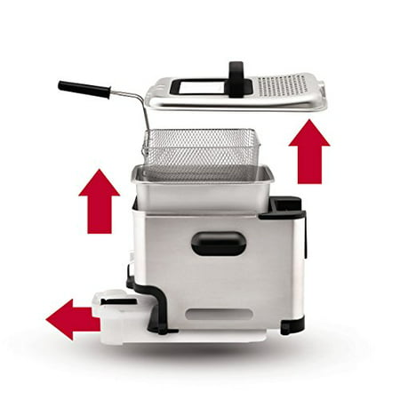 T Fal Fr8000 Oil Filtration Ultimate Ez Clean Easy To Clean 3 5 Liter Fry Basket Stainless Steel Immersion Deep Fryer  2 6 Pound