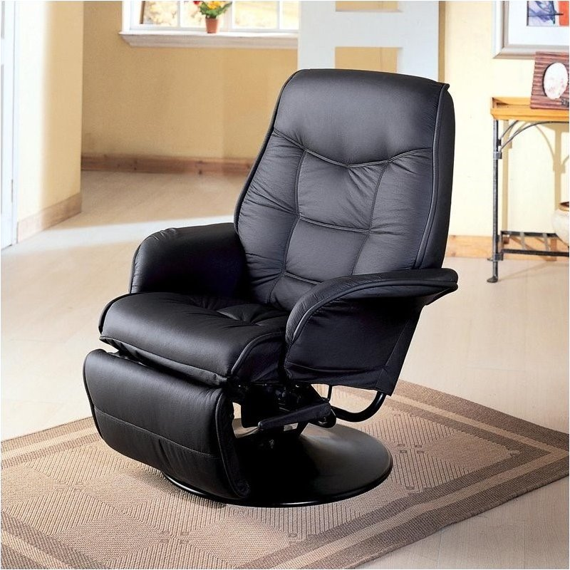 Superbe Bowery Hill Faux Leather Swivel Recliner Chair In Black