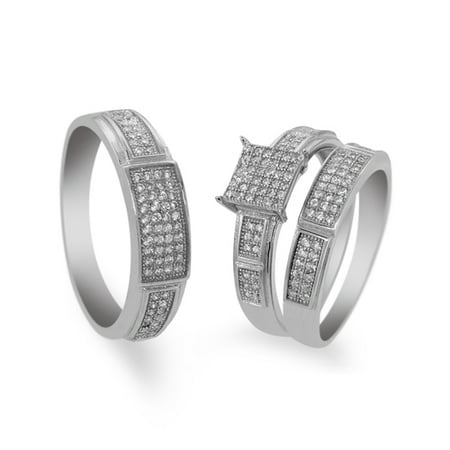 2.00 Ct His and Hers 3 Pieces Round CZ Sterling Silver Engagement Three Ring Set