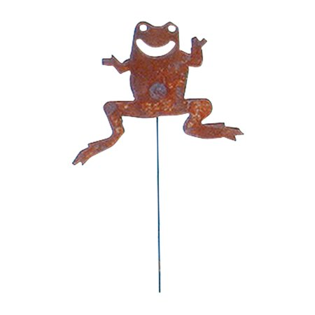 Village Wrought Iron RGS-34 Frog - Rusted Garden Stake (Wrought Iron Frog)