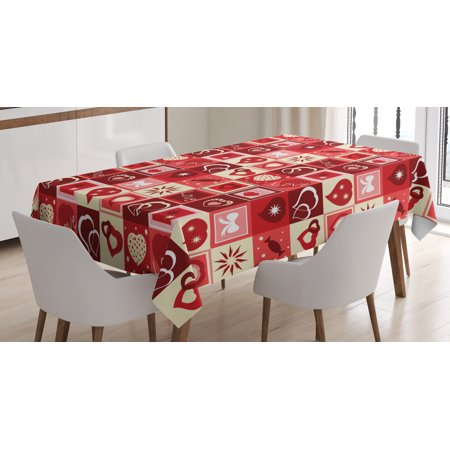 Red Tablecloth, Valentines Day Themed Frames Collection with Hearts Stars Love Lettering and Candy, Rectangular Table Cover for Dining Room Kitchen, 60 X 84 Inches, Red Coral Beige, by Ambesonne - Valentine Tablecloth