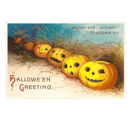 Pictures Of Jack O-lanterns (Halloween, Curiouser and Curiouser, Jack O'Lanterns Print Wall Art )