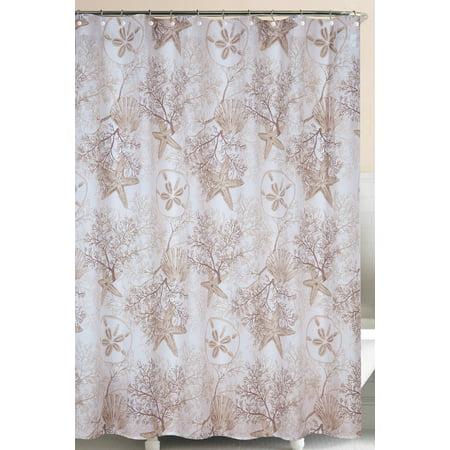 Barefoot Landing Brown Sea Life Coral Starfish Shells Cotton Shower Curtain