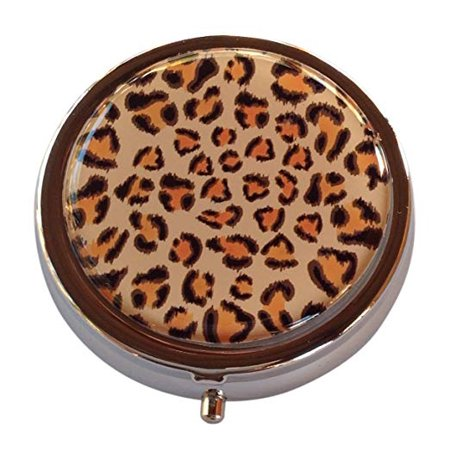 Leopard Round Three Section Pocket/Purse/Travel Pill Box