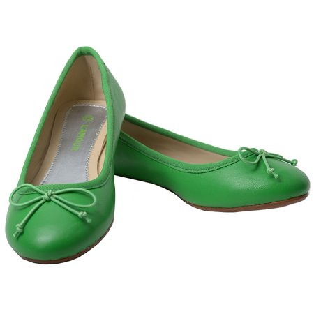 L'Amour Green Slip On Bow Flat Dress Shoes Toddler Girls 7