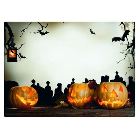 HelloDecor Polyester Fabric Photography Backdrop White 5x7ft Black Bat Large Pumpkin Photo Background Vintage Wood Floor Photo Background Halloween Party](Vintage Halloween Photo)
