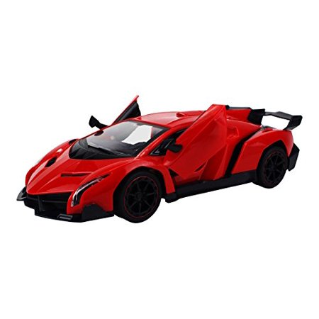 - Formula Hyper Car Remote Control RC Sports Car 1:14 Scale Size Rechargeable Ready To Run w/ LED Headlights, Opening Doors (Colors May Vary)