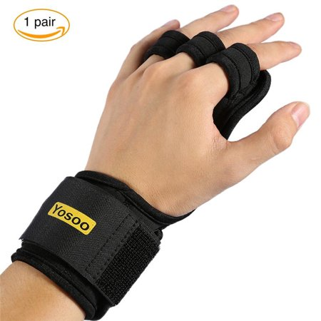 Qiilu Gymnastics Grips Padding Gloves Cross Training Gloves with Wrist Support Palm Protection for CrossFit, WODs Pull Ups Chin Ups Kettlebels and Weight Lifting for $<!---->