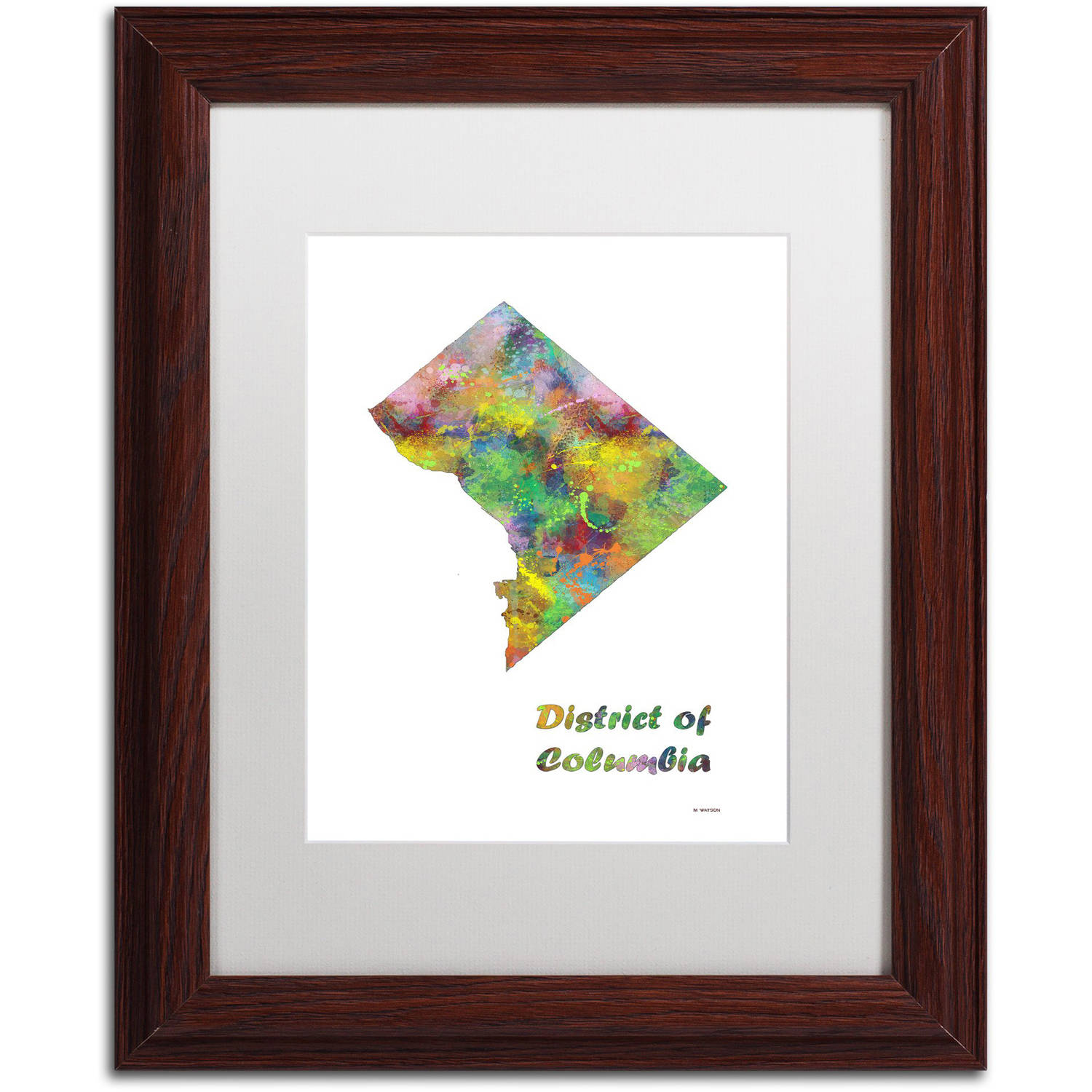 "Trademark Fine Art ""District of Columbia State Map-1"" Canvas Art by Marlene Watson, White Matte, Wood Frame"