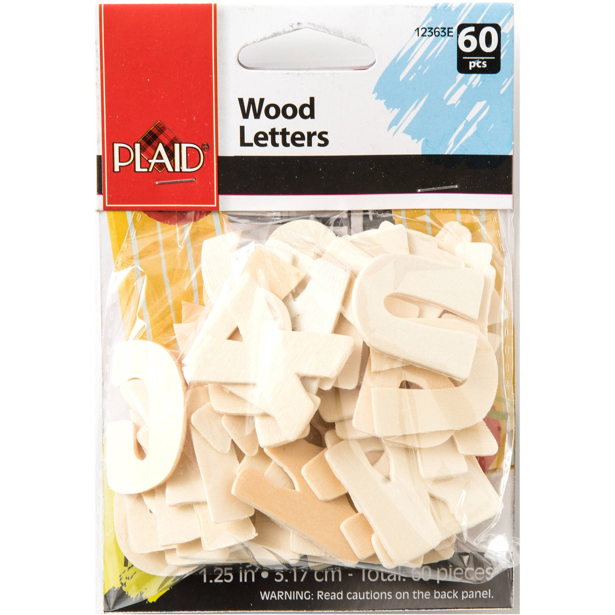 Plaid Wood Bold Letter Pack, 60 pieces