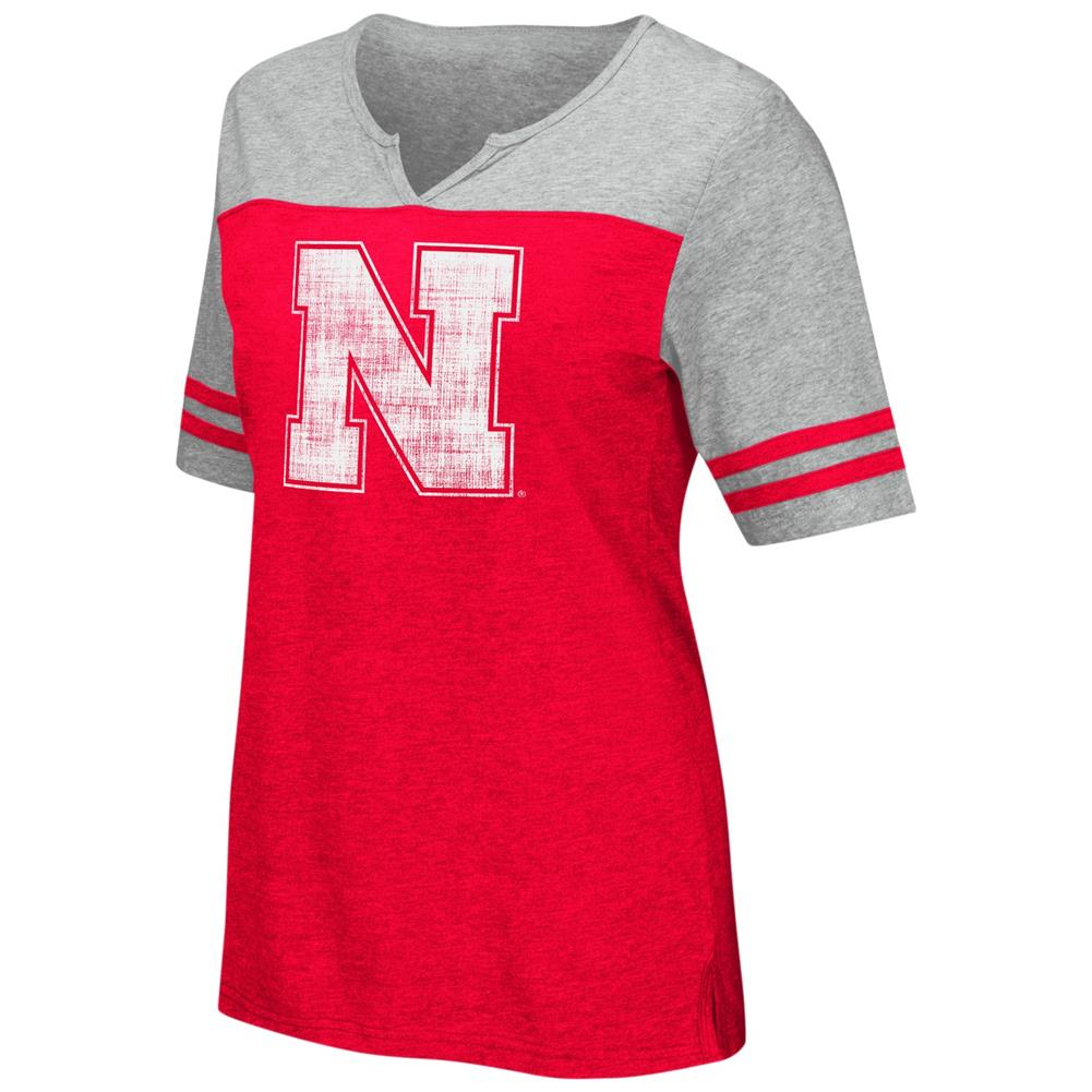 Nebraska Cornhuskers V-Neck Tee On A Break Fashion T-Shirt