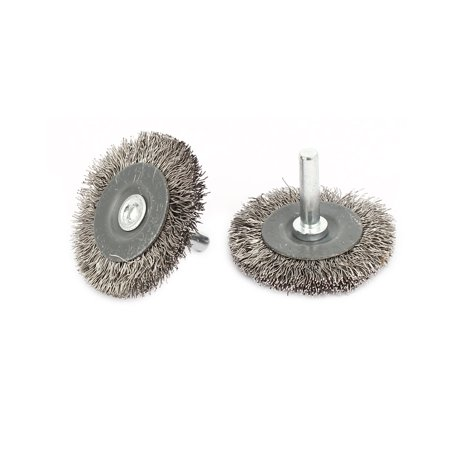 Stainless Steel Crimped Wire - 6mmx40mm Stainless Steel T Shape Crimped Wire Wheel Brush Buffing Tool 2pcs
