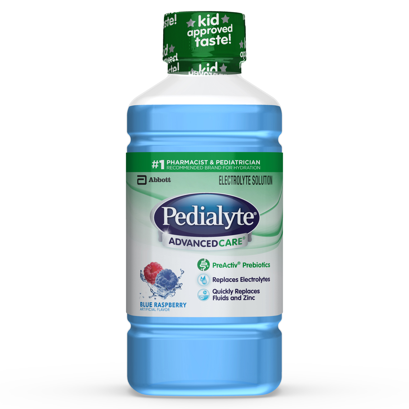 Pedialyte AdvancedCare Electrolyte Drink w/ Prebiotics (8 Count) Blue Raspberry, 35 fl oz