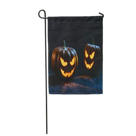 LADDKE Orange Halloween Tow Pumpkin Carving Face Head Jack Lantern Garden Flag Decorative Flag House Banner 12x18 inch