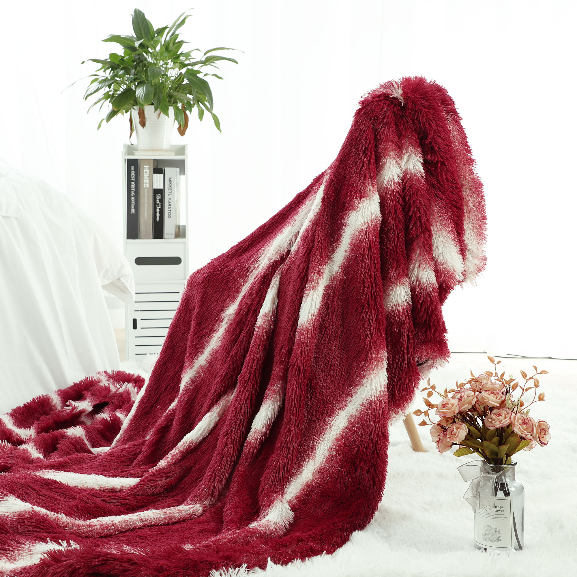 Faux Fur Blanket Super Soft Warm Shaggy Fuzzy Long Fur Blankets Twin Red