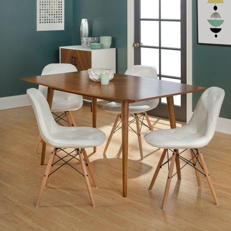 Manor Park Mid-Century Modern 5-Piece Dining Set - White / Brown