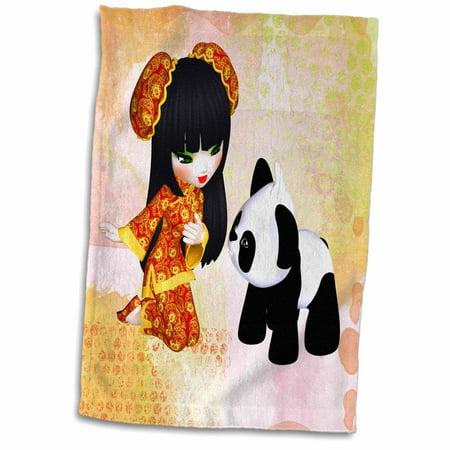 3dRose A Kawaii China Girl with a Panda Bear - Towel, 15 by 22-inch (Panda Hand Towel)