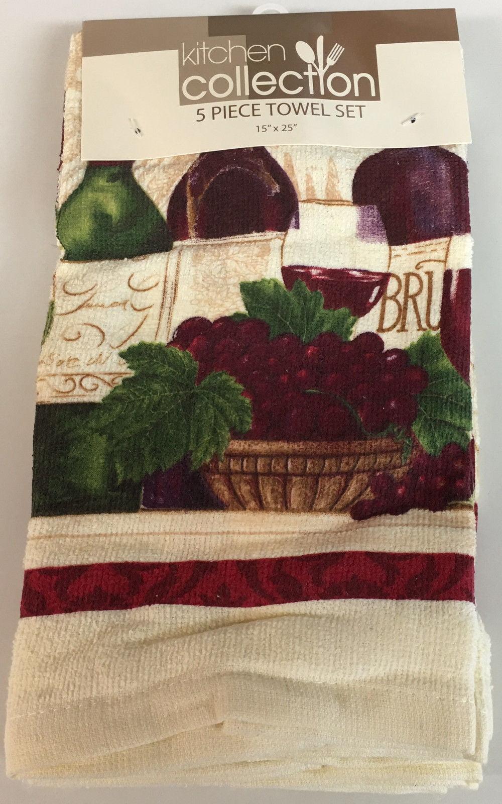Set of 5 Kitchen Towels, Wine Bottles by Popular Bath