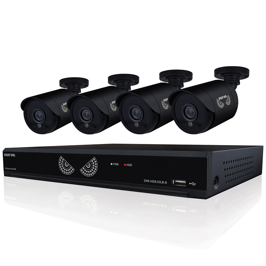 Night Owl 8-Channel Security Camera System, 720P AHD DVR, 4 indoor/outdoor HD 720p bullet cameras (Model WM-8HD10L-4720)