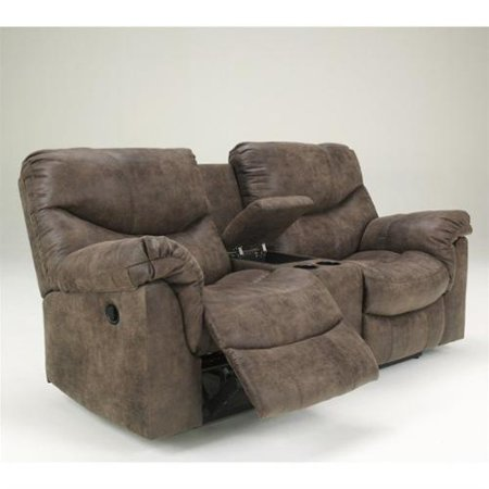 Alzena 7140096 80 Double Power Reclining Loveseat With Storage Console Cup Holders Padded Arms